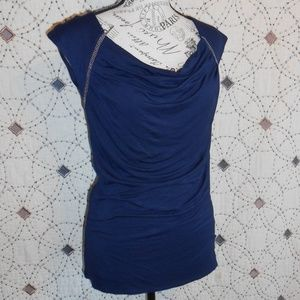 EUC laundry Blue Drape Front Blouse S